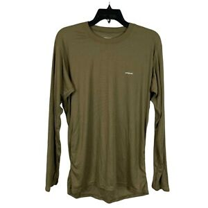 Patagonia Mens Brown Capilene Crew Neck Long Sleeve Pullover T Shirt Size Large