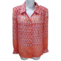 Blair Buttoned Blouse Sheer Vintage Orange Padded Shoulder Long Sleeve Size S