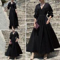 Womens Evening V-neck Long Sleeve Long Dress Holiday Swing Flared Shirt Dress