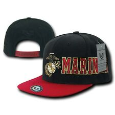 US Marine Corps USMC Marines Retro Flat Bill Snapback Military Baseball Cap Hat