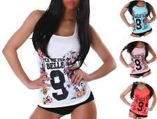 Mehrfarbige Damenblusen, - tops & -shirts mit U-Ausschnitt für die Freizeit