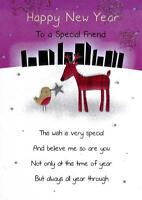 Happy New Year Special Friend Greeting Card Glitter Finished New Years Cards