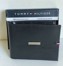 NEW! TOMMY HILFIGER BROWN RFID PROTECTION BILLFOLD BIFOLD LEATHER & VALET WALLET