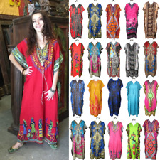Women Kaftan Casual Maxi Dress Kimono Sleeve Evening Gown Beachwear Sundress