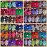 10Pc Rhinestone Bling Boutique Baby Kid Girls Hair Bows Ribbon With Clip Hairbow