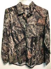 Cabelas Mossy Oak Long Sleeve Shirt Moisture Wick UPF 30 Mens Size XL Button Up