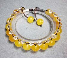 Yellow Jade Gem Tibet Buddhist Prayer Beads Mala Bracelet