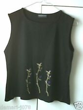 1990s C&A Casual/Smart Black Sleeveless Crop Top, Ladies Size 16  (Euro 42)