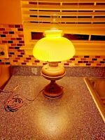 Vintage Rayo Oil Lamp Converted to Electric w/ribbed milk glass shade 21'' T