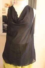 Isabella Rodriguez Sheer Black Sleeveless Beautiful Draped Neck Lagenlook Top 1X