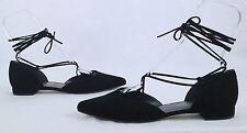Stuart Weitzman' Gilligan Lace-up D'orsay Flat- Black- Size 10 M $398-(P-2)