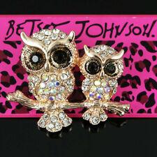 2019 Two Cute Rhinestone Owl Betsey Johnson Brooch Animal Bird Pins Women