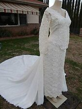 Wedding gown Spacial Pearls Alcona Lace DetatchableTrain White/Ivory Sz16 Dress