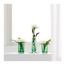 IKEA Anvandbar 3 Vase Candle Holder Wedding Green Glass Table Decor Votive NEW