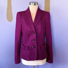 Rena Lange Womens 100% Wool Bow Blazer Jacket Grape Size 8