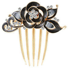Black Rose Flower Shiny Evening Prom corsage Hair Accessories Comb HA322