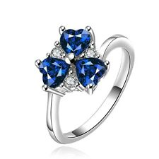 Sapphire Blue clover medium women engagement ring diameter 17.5 mm size O FR195