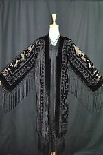 Art to Classic Black Burnout Velvet Fringe Kimono Opera Duster Jacket Coat Maya