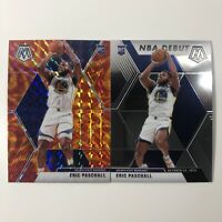 2019-20 Mosaic Eric Paschall Orange Reactive Prizm RC SP & NBA Debut Base RC GS