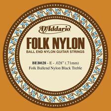 D'Addario BEB028 .028 Folk Single Nylon String with Ball End for Guitar - Black