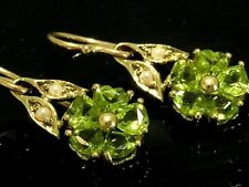E086- GENUINE 9K 9ct Solid Gold Natural Peridot Blossom Earrings Dangle drop