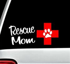 Rescue Mom Cross and Dog Paw Decal Sticker for Car Window 8 Inch BG 201 Pet Gift
