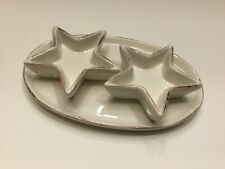 Pottery Barn Oop Star Salt & Pepper Set With Tray Low Shipping New - Other