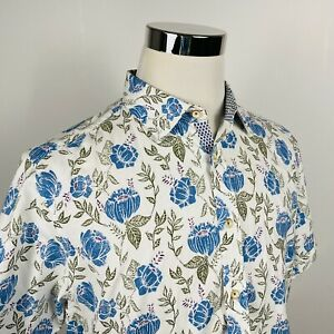 Ted Baker Mens XL (5) Casual Short Sleeve Shirt Blue White Floral 100% Cotton