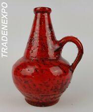 Vintage 1960-70s SILBERDISTEL Handled Red Vase West German Pottery Fat Lava Era