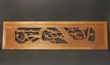 JAPANESE HAND CARVED SCULPTURE RANMA TRANSOM UME BLOSSOMS  & BAMBOO 138CM