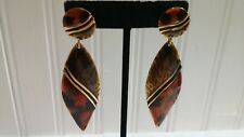 Berebi Black Orange Enameled Goldtone Metal Oval Dangle Post Pierced Earrings