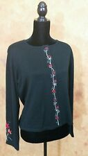 WOMENS LARGE BLACK RED HOLLY CARDIGAN SWEATER EMBROIDERED FALL
