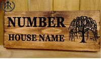 House Number Plaque Weeping Willow Tree Sign Door Plate Name Wall Display Plate