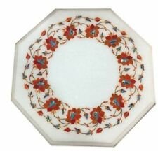 "12"" Marble corner / side end handcrafted pietra dura carnelian inlay Table Top"