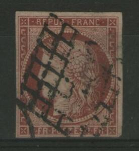 FRANCE:  n°6 oblitéré grille  (cote 1000€)