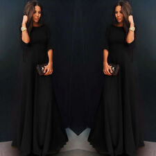 US Womens Long Chiffon 3/4 Sleeve Evening Formal Party Prom Ball Gown Maxi Dress