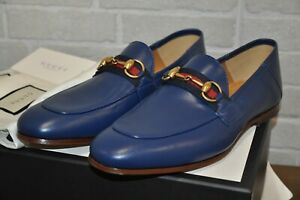 Authentic New Men's Gucci Blue Leather Horsebit Loafer with Web