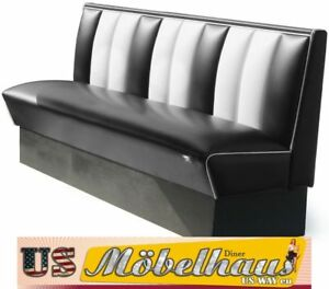 HW-180-Black American Diner Bench Diner Benches Furniture USA Style Catering