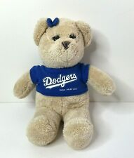 "Dodgers MLB Girl 13"" Teddy Bear Plush Stuffed Animal Team Shirt Bow Gen Merch"