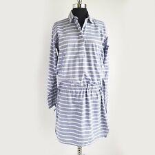 Gap Long Sleeve Dress Womens XS Drawstring Waist Striped Blue/White - NEW NWT