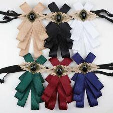 Women Bow Tie Polyester Vintage Head Diamod Ribbon Tassel Brooch Collar Hitch