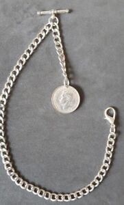New silver colour Albert pocket watch chain with clasp,t-bar & GR VI Shilling