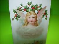 Vintage Christmas Postcard Cherub Angel With Holly Branch Embossed Germany 1908