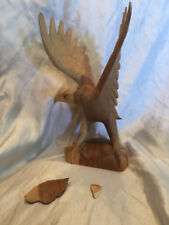 Collectible damaged American Eagle Wood Carving Folk Art Hand Crafted 11