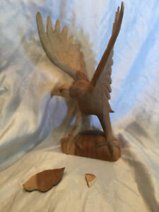 "Collectible damaged American Eagle Wood Carving Folk Art Hand Crafted 11"" Tall"