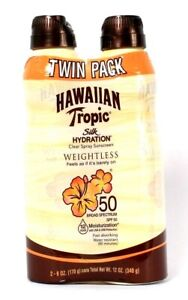 2 Pack Hawaiian Tropic 6 Oz Silk Hydration Weightless SPF 50 Sunscreen Spray