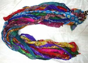 12 yards Unstitched Recycled PURE Silk Sari Ribbon Yarn tassels MIXED SKEINS NR