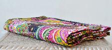 Vintage Kantha Quilt Indian Handmade Cotton Queen Size Reversible Throw Blanket