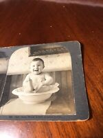 Vintage Baby in Wash Bowl Stereoview Photo Card