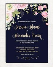 Floral Wedding Invitation Navy Pink Gold Flowers Invite Hens Night Garden Party